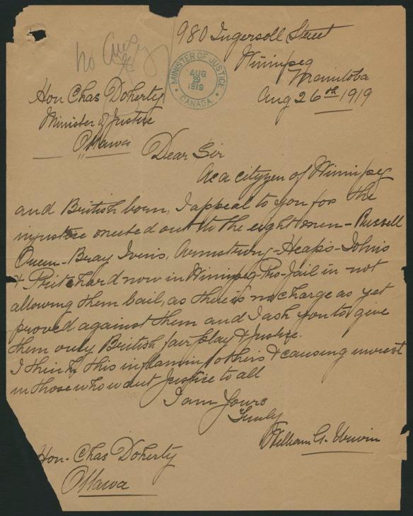 Lettre manuscrite sur papier jauni datée du 26 août 1919.