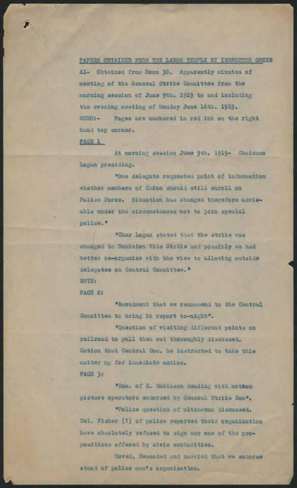 La première page d'un document tapuscrit énumérant et résumant les documents saisis dans la salle 30 de l'Ukrainian Labour Temple. Les descriptions comprennent des résumés de procès-verbaux de réunions du Comité central de grève.