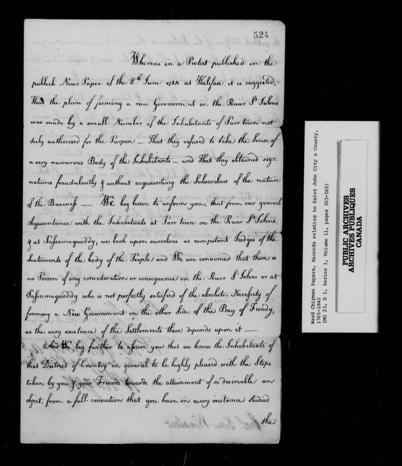 Image noir et blanc de la première des deux pages d'une lettre de remerciements adressée à Edward Winslow, et écrite par des représentants des Loyalistes de la rivière Saint-Jean le 19 juin 1784.