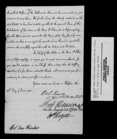 Image noir et blanc de la deuxième page d'une lettre de remerciements de deux pages adressée à Edward Winslow, et écrite par des représentants des Loyalistes de la rivière Saint-Jean le 19 juin 1954.