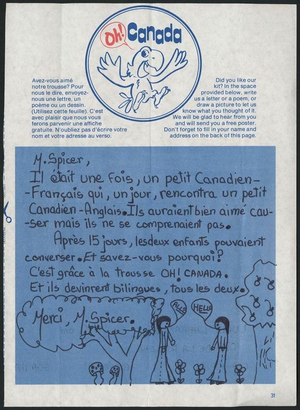 Une reproduction en couleur d'une page de la trousse d'étude sur le bilinguisme avec une histoire de deux enfants apprenant le français / anglais et un dessing de deux enfants en train de remercier M. Spicer.