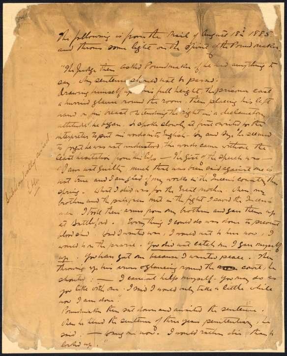 Page rédigée à la main en anglais.