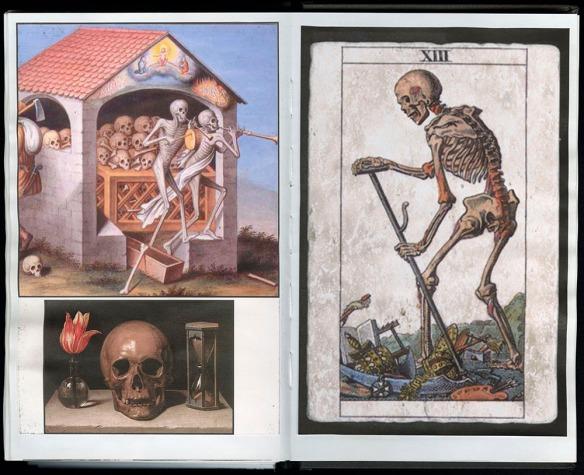 Deux pages du journal no 208 de Heath montrant trois différents memento mori. Une image représente des squelettes dans un édifice, une autre, un crâne à côté d'une fleur dans un vase, et une troisième, un squelette marchant en s'appuyant sur un bâton.