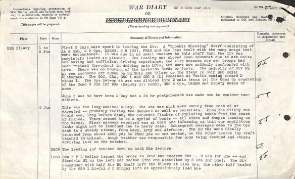 Image numérisée en couleur d'un compte rendu tapuscrit des opérations du jour J.