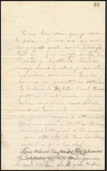 Lettre rédigée à la main en français.