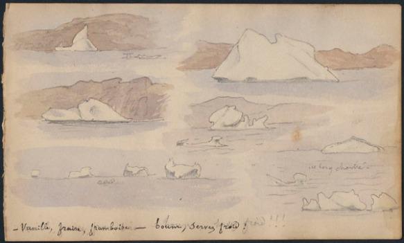 Six petits croquis légèrement colorés montrant divers types d'icebergs, avec la légende « Vanille, fraise, framboise – boum, servez froid! »