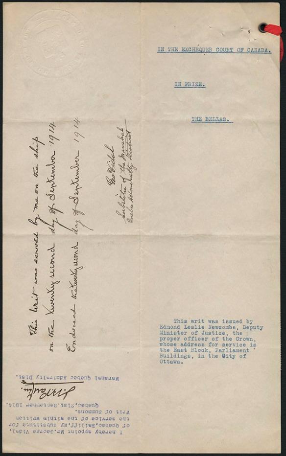 Document dactylographié avec le titre « In the Exchequer Court of Canada » et un cordon rouge dans le coin supérieur droit. Il y a deux signatures.