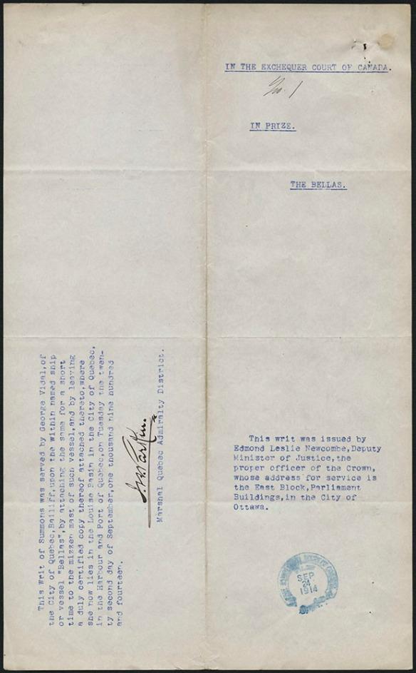 Document dactylographié avec le titre « In the Exchequer Court of Canada No. 1 ». Il y a une marque de tampon à l'encre bleue avec la date du 24 septembre 1914, et une signature.