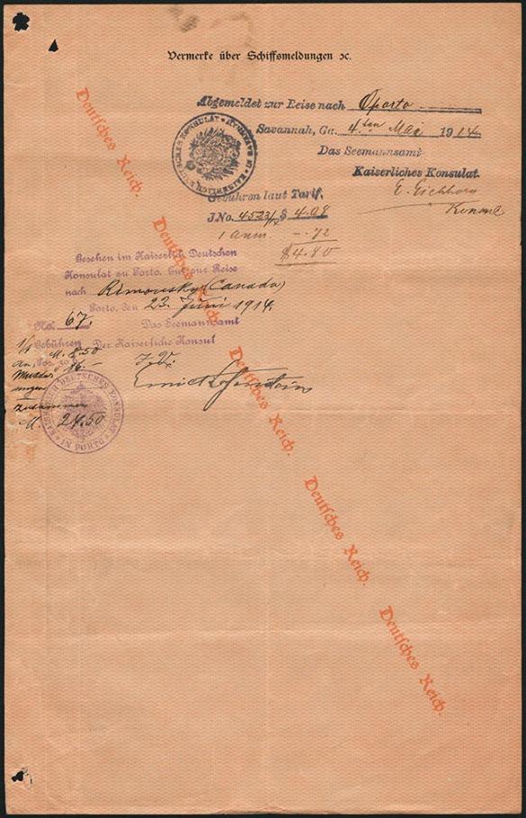 Document écrit en allemand. En filigrane sur le papier, diagonalement de gauche à droite, il est écrit Deutsches Reich (Empire germanique).