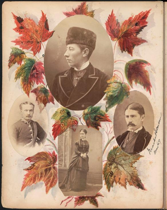 Page d'album avec quatre photos en noir et blanc entourées de feuilles d'érable colorées. Trois des photos montrent un homme; la quatrième montre une femme.