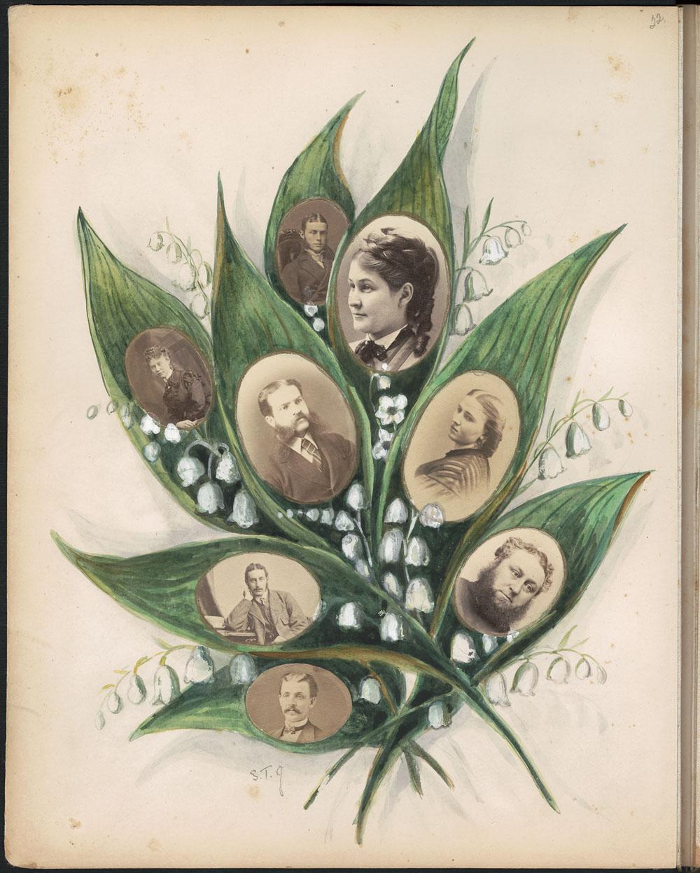 Page d'album montrant huit photos d'hommes et de femmes au milieu de feuilles vertes d'où émergent de petites fleurs blanches