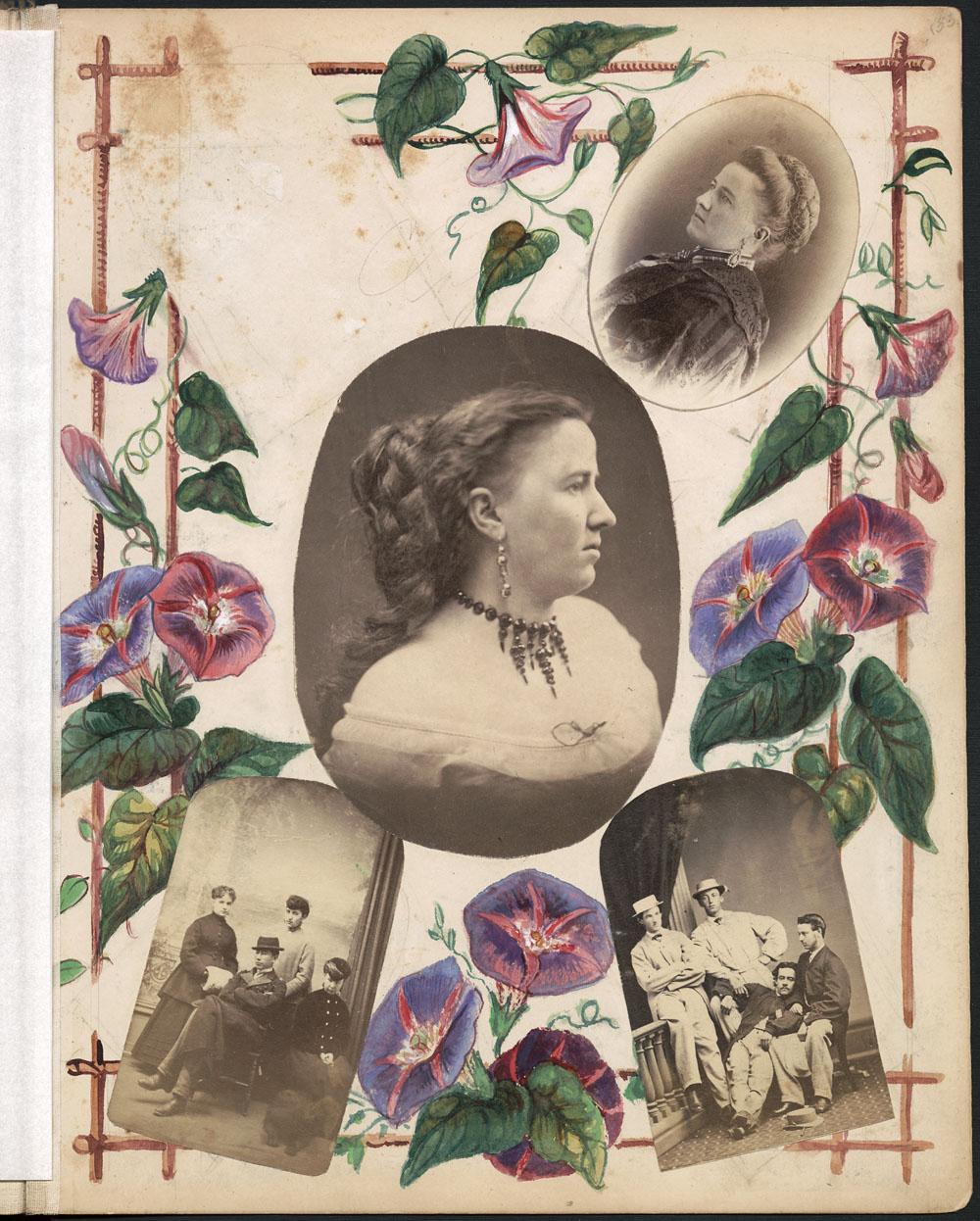 Page d'album montrant une photo de son auteure, Sarah Howard, au centre d'un montage. La page est décorée de fleurs peintes; on y voit aussi un portrait individuel et deux portraits de groupe, montrant probablement des amis et des parents de Sarah Howard.