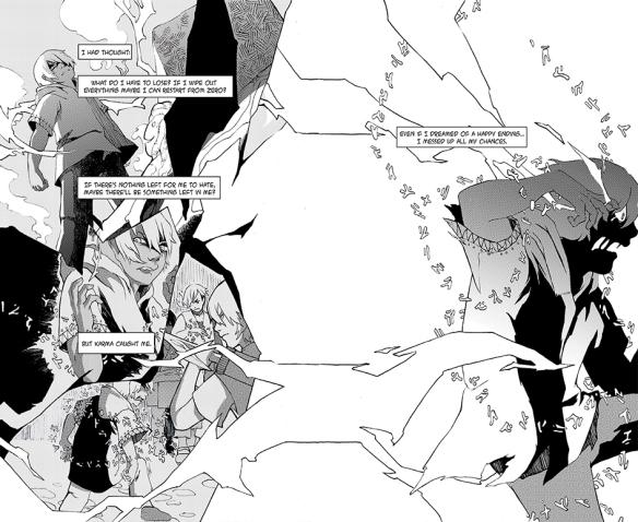 Dessin noir et blanc de personnages du roman graphique Halfsoul.