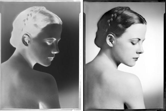 Deux images noir et blanc, côte à côte, d'une femme aux cheveux foncés, de profil. L'image de gauche est le négatif, et celle de droite, la photo finale.