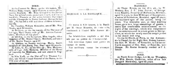 Trois colonnes de texte tirées de journaux contenant de l'information sur des décès et des mariages.