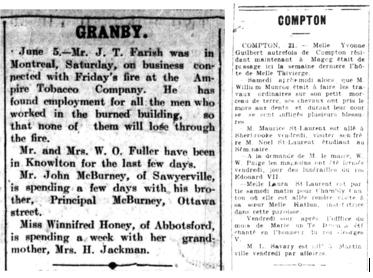 Deux colonnes de texte de journaux, intitulées « Granby » et « Compton », qui donnent des renseignements sur les résidents de ces villes.