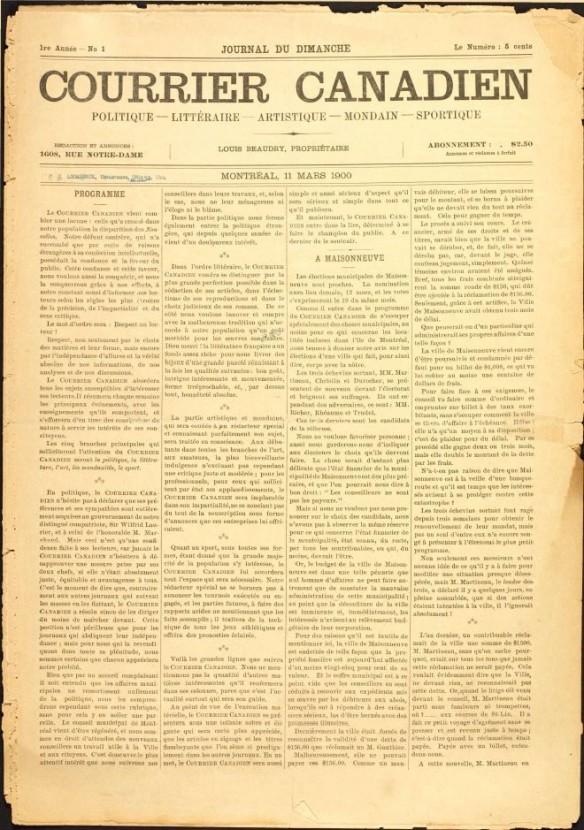 Image du journal Courrier canadien, rédigé en quatre colonnes.