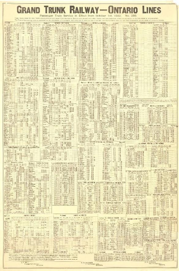 Image d'un horaire de la Grand Trunk Railway Company daté de 1922.