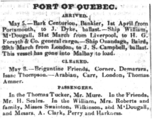Une colonne de texte d'un journal, intitulée « Port of Quebec ».