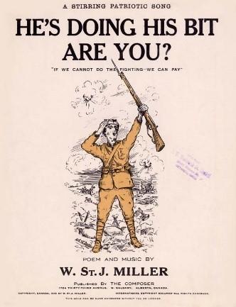 Dessin en couleur d'un soldat vêtu d'un uniforme bronze tenant un fusil au-dessus de sa tête.
