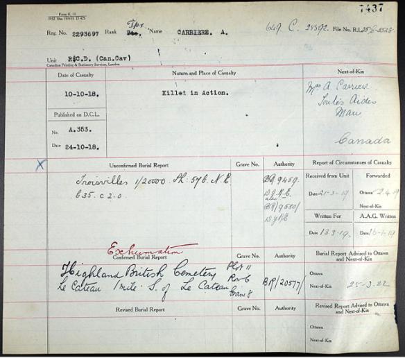 Formulaire présentant plusieurs annotations dactylographiées et manuscrites. Le mot « Exhumation » est écrit à l'encre rouge au-dessus de la mention dactylographiée « Confirmed Burial Report » (Confirmation d'inhumation).