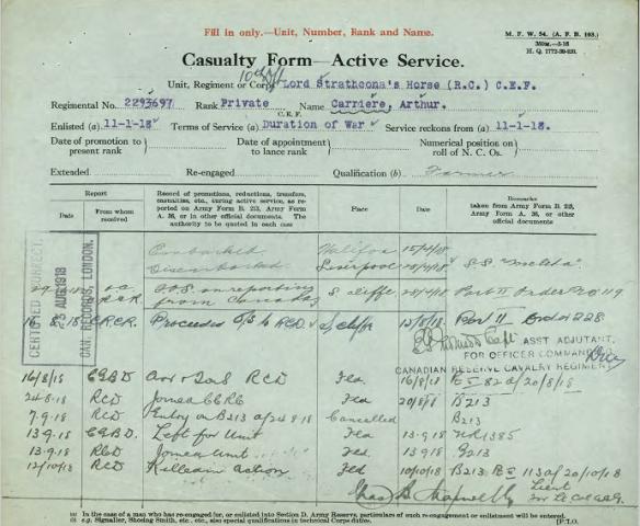 Formulaire dactylographié et manuscrit ayant pour titre « Casualty Form – Active Service » (Formulaire des pertes – service actif). Le numéro de régiment, le rang et le nom du militaire sont tapés à l'encre bleue, accompagnés de notes manuscrites.