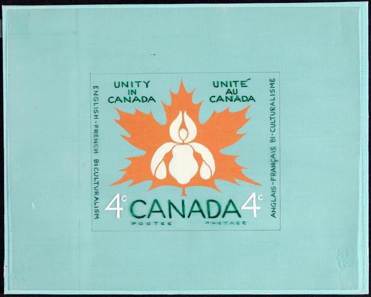 Esquisse d'un timbre dessiné sur fond turquoise, avec, au centre, une grande feuille d'érable orange ornée d'un lis blanc en son centre. On peut y lire : «Unity in Canada/Unité au Canada» et «English–French Biculturalism/Anglais-Français Bi-culturalisme».
