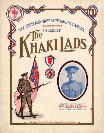 Dessin en couleur d'un soldat debout tenant un fusil devant le drapeau britannique, une médaille de guerre et le portrait de H.W. Ellerton en uniforme.