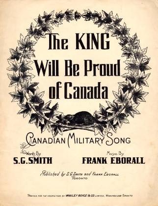 Une image en noir et blanc où les mots « The King Will Be Proud of Canada » sont entourés d'une couronne de feuilles et d'un castor.