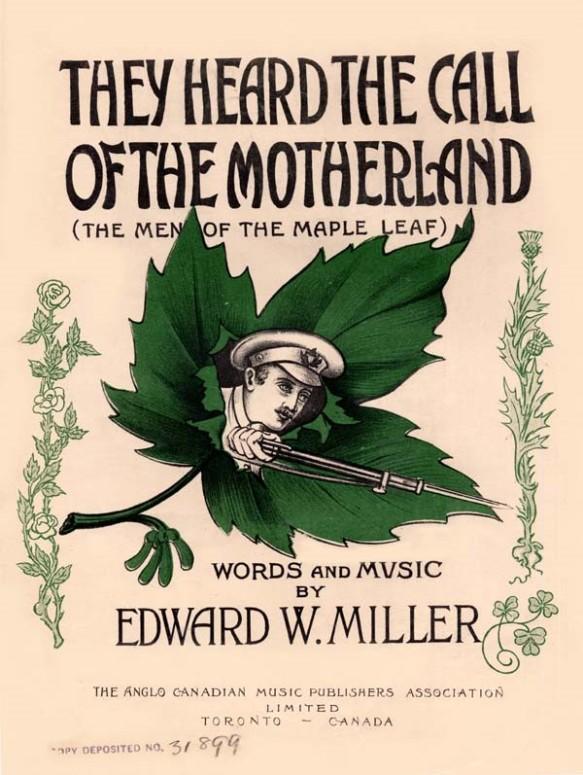 Dessin en couleur d'un soldat tenant un fusil avec une feuille d'érable verte à l'arrière-plan.
