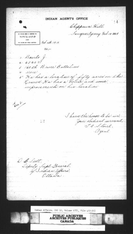 Page du Indian Agent's Office (Bureau de l'agent des Indiens), Chippewa Hill, bureau de Saugeen, 14 février 1919.