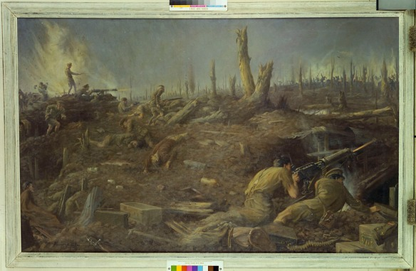 Peinture à l'huile réalisée par Kenneth Keith Forbes en 1918. La scène montre la défense du Bois du Sanctuaire par les militaires canadiens, près d'Ypres, en Belgique, en 1916.