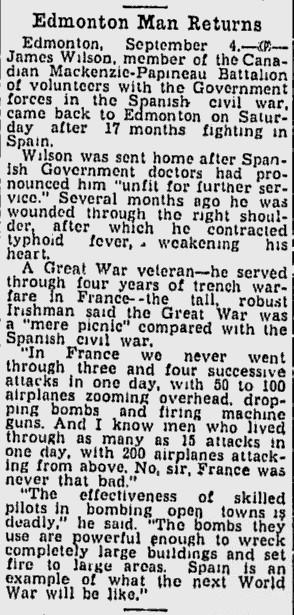 Une colonne de texte d'un journal ayant pour titre « Edmonton Man Returns ».