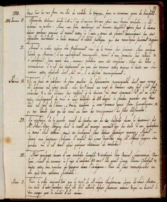 Une page manuscrite tirée d'un journal.