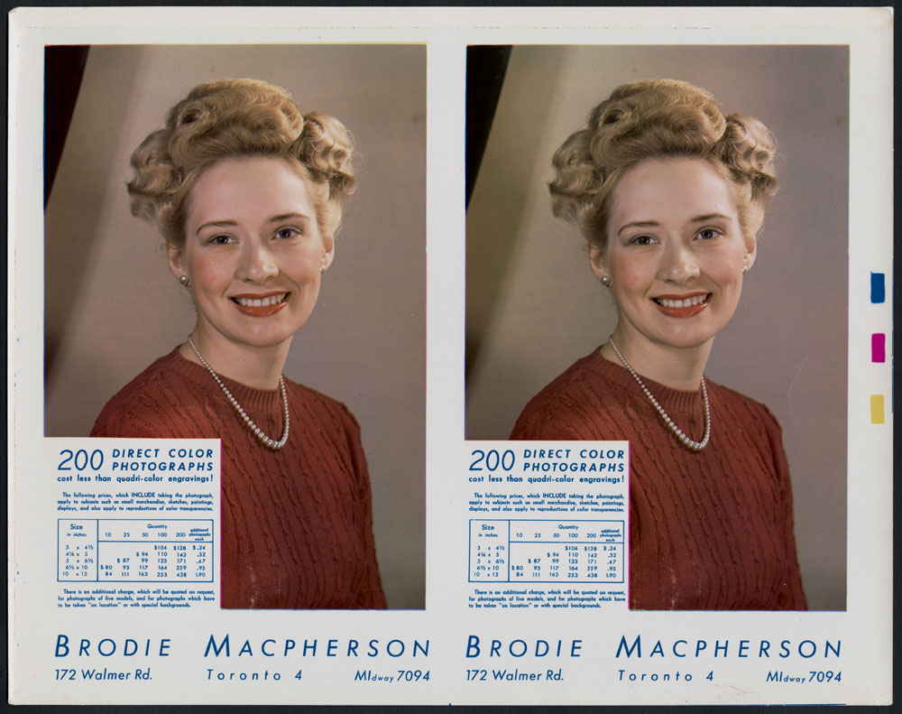 Deux portraits studio identiques d'une femme blonde inconnue portant du rouge à lèvres et un tricot rouge. Les tarifs et les coordonnées de Brodie Macpherson sont superposés dans le coin inférieur gauche et sont aussi inscrits sous l'image.