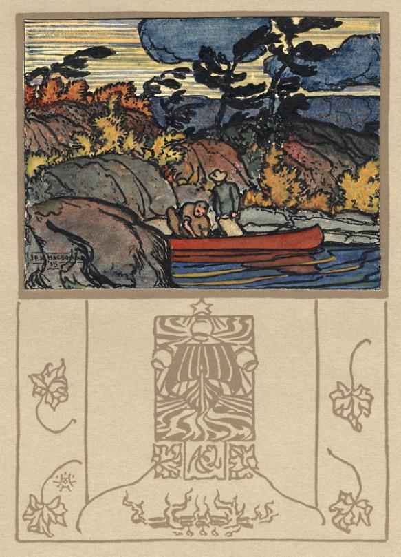 Aquarelle représentant deux personnes dans un canot rouge avec des arbres colorés et balayés par le vent à l'arrière-plan.
