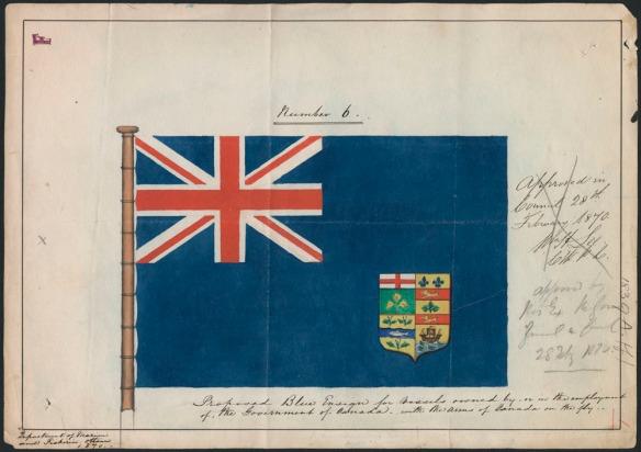 Peinture d'un drapeau bleu comprenant le Union Jack dans le coin supérieur gauche et des armoiries dans le coin inférieur droit. Des inscriptions manuscrites figurent à la droite et en dessous du drapeau.