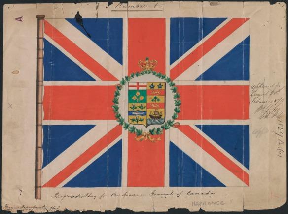 Peinture d'un drapeau qui consiste en une représentation du Union Jack au centre duquel sont superposées des armoiries entourées d'une couronne de feuilles d'érable. Des inscriptions manuscrites figurent à la droite et en dessous du drapeau.