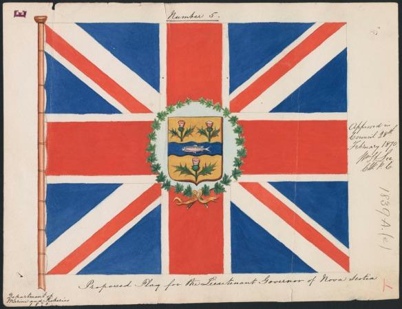 Peinture d'un drapeau qui consiste en une représentation du Union Jack au centre duquel se trouvent des armoiries entourées d'une couronne de feuilles d'érable. Des inscriptions manuscrites figurent à la droite et en dessous du drapeau.