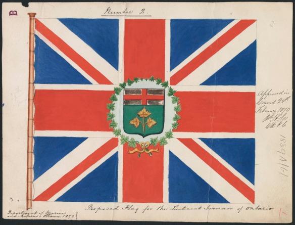 Peinture d'un drapeau qui consiste en une représentation du Union Jack au centre duquel sont superposées des armoiries cernées d'une couronne de feuilles d'érable. Des inscriptions manuscrites figurent à la droite et en dessous du drapeau.