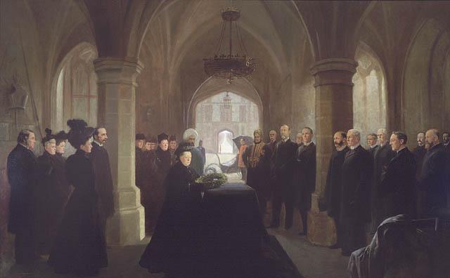 Tableau représentant les personnes qui ont assisté à la messe célébrée au château de Windsor pour le défunt premier ministre sir John Thompson. La reine Victoria dépose une couronne sur le cercueil sous le regard d'éminents invités et de membres de sa cour.