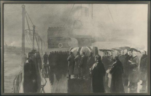 Photographie d'une peinture à l'huile originale montrant la dépouille du défunt premier ministre Thompson sur le pont du HMS Blenheim à son arrivée à Halifax.