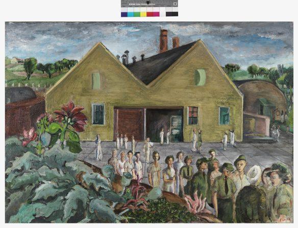 Toile colorée représentant des femmes (certaines en uniforme) qui font la file devant un bâtiment. On voit à l'arrière-plan des collines verdoyantes et des arbres. Cette œuvre est la version achevée du tableau que Bobak est en train de peindre dans la photographie ci-dessus.