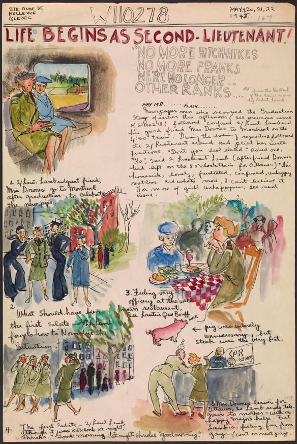 Page manuscrite contenant du texte et des illustrations. On peut voir deux femmes en uniforme militaire, quatre femmes prenant la pose, deux femmes attablées dans un restaurant, un petit cochon rose et quatre femmes marchant au pas. La page est coiffée du titre « Life Begins as Second-Lieutenant! » (Les débuts d'une sous-lieutenante).