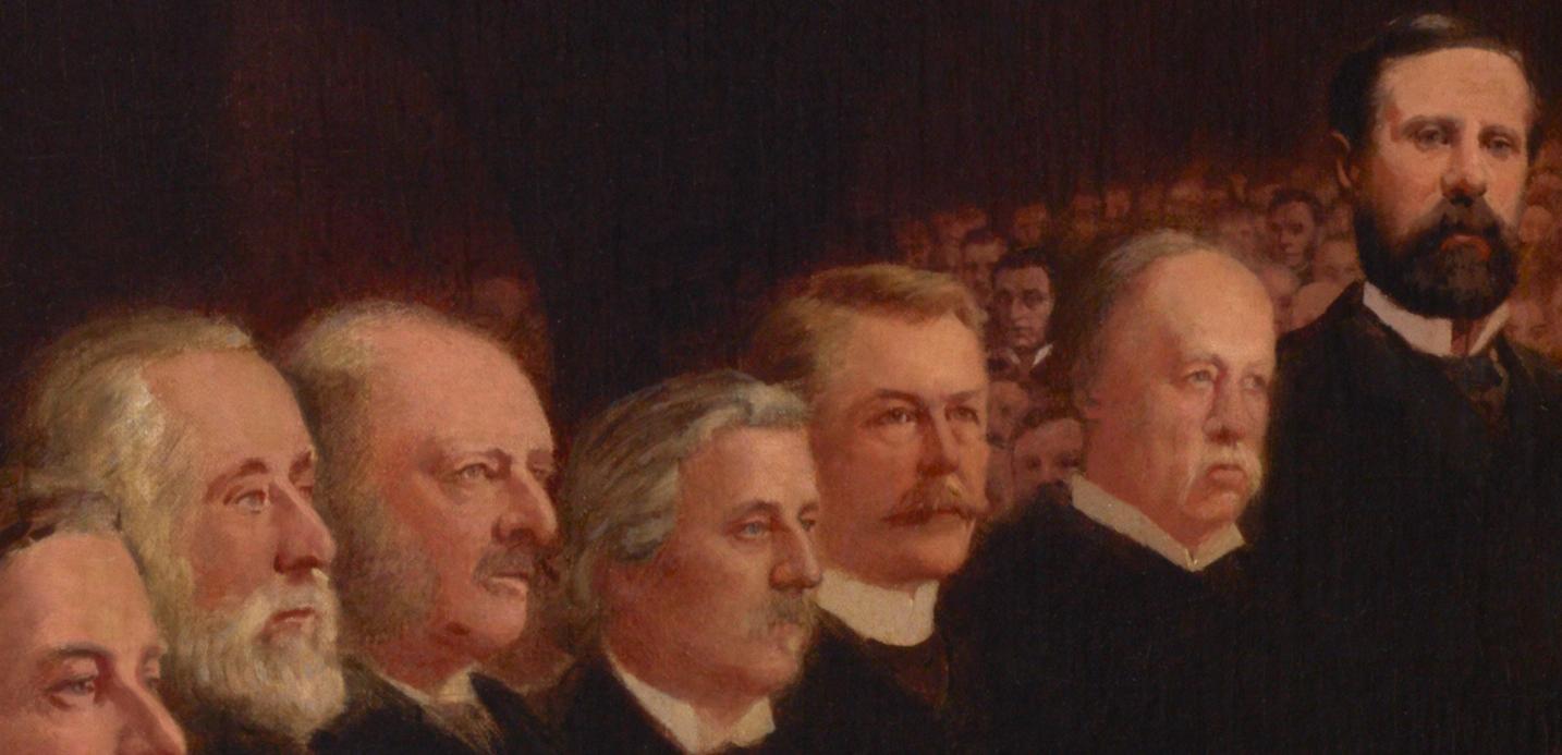 Détail illustrant des personnalités politiques et des citoyens éminents de l'époque.
