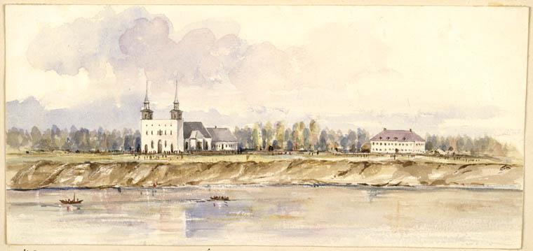 Aquarelle mettant en scène deux bâtiments blancs aux abords d'une rivière à l'avant-plan, où voguent deux bateaux.