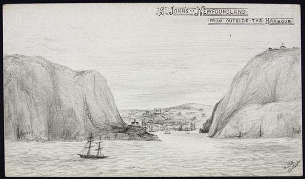 Croquis de l'entrée du port de St. John's.