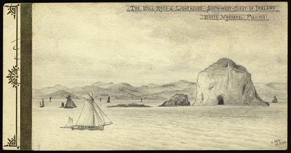 Croquis de Bull Rock et de son phare, au large de la côte sud-ouest de l'Irlande, avec des bateaux pêchant le maquereau.