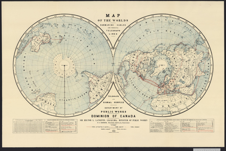Carte des pôles Nord et Sud montrant des lignes télégraphiques traversant l'Atlantique et les continents.
