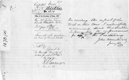 Page lignée d'un registre avec des entrées manuscrites. Les mots « Capital case » (peine capitale) et le nombre 1673 sont inscrits en haut.